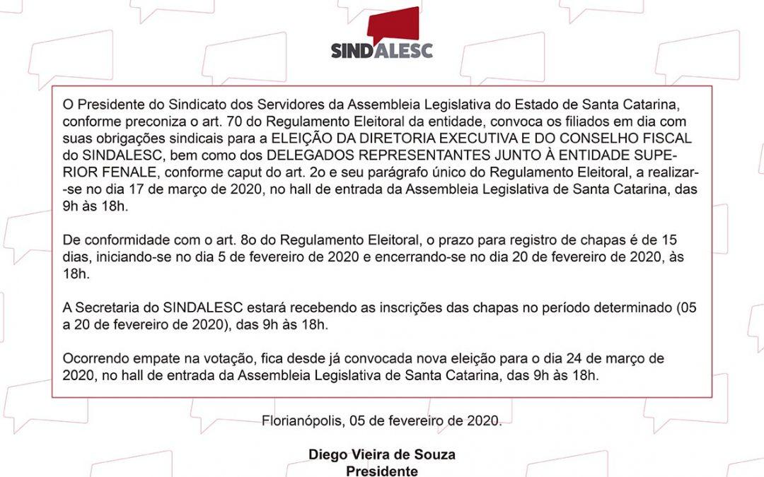 Edital de convocação das eleições SINDALESC 2020