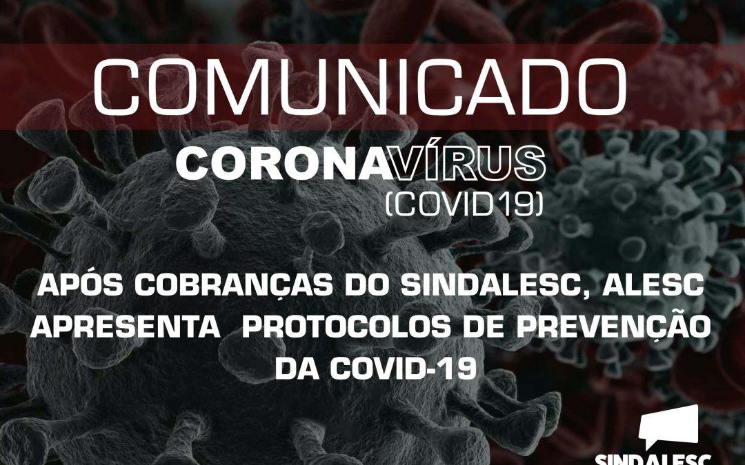 Após cobranças do SINDALESC, ALESC apresenta  protocolos de prevenção da COVID-19