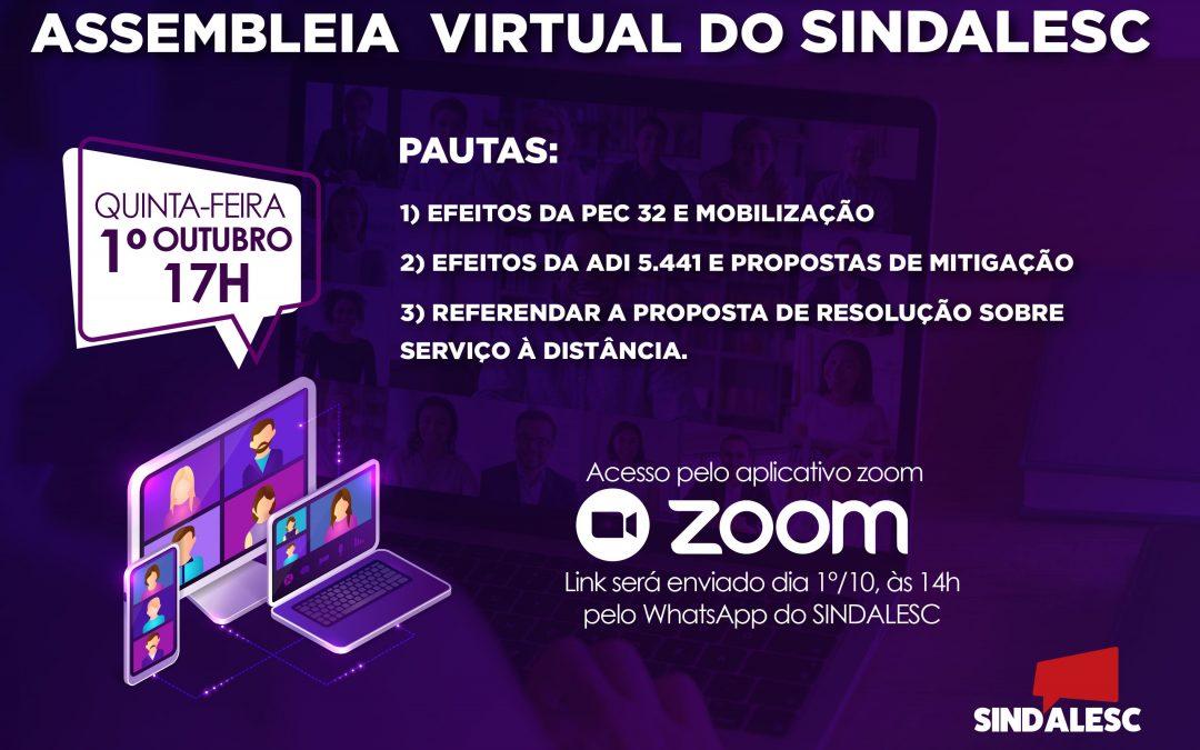 Convocação: Assembleia Virtual do SINDALESC
